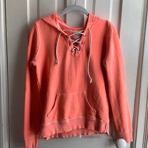 American Eagle Bright Pink Lace-Up Hoodie